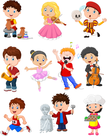 Vector illustration of Kids engaged in different hobbies