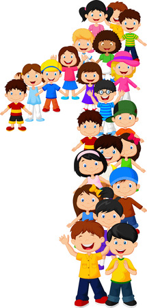 Vector illustration of Little kids form number one