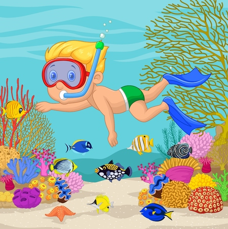 deep sea diver: Vector illustration of Little boy snorkeling