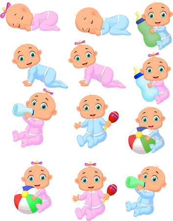 Vector illustration of Collection of cartoon baby