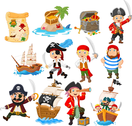 Vector illustration of Collection of cartoon pirate