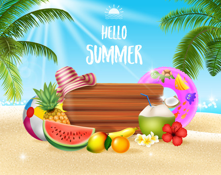 Vector illustration of Summer holiday background with tropical fruits Illustration