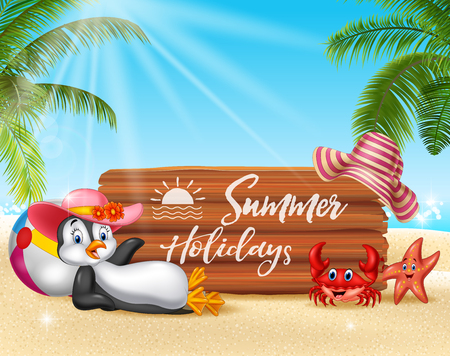 Vector illustration of Summer background with penguin relaxing Illustration