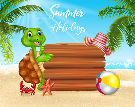 Vector illustration of Summer background with turtle and blank sign