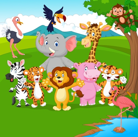 Vector illustration of Cartoon wild animal in the jungle Illustration