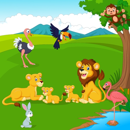 Illustration of Cartoon lion family in the jungle