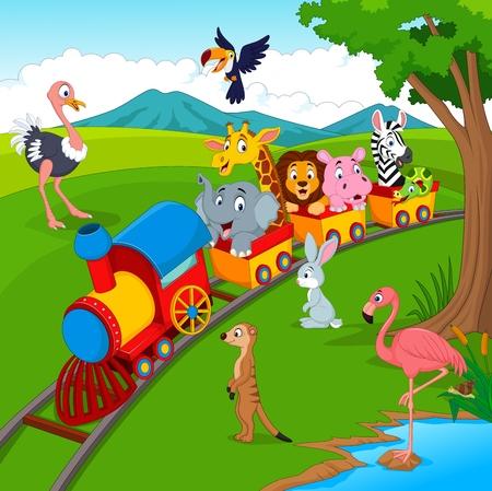 Illustratie van Cartoon trein op spoorweg met wilde dieren