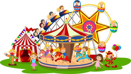 Vector illustration of Carton amusement Park