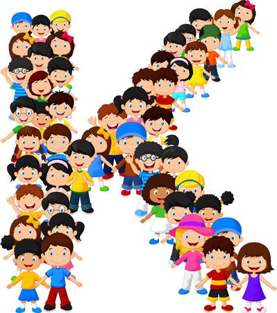 Kleine kinderen vormen alfabet K Stock Illustratie
