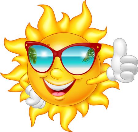 漫画の親指をあきらめる笑顔太陽