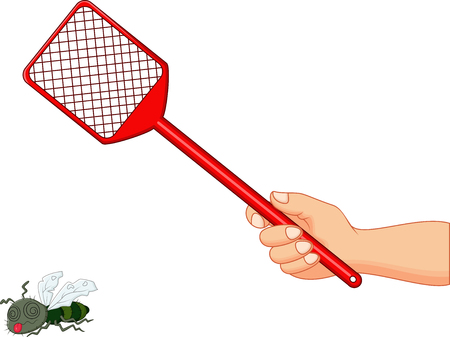 Vector illustration of Fly swatter on white background. Illustration