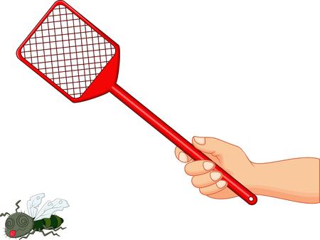 Vector illustration of Fly swatter on white background. Çizim