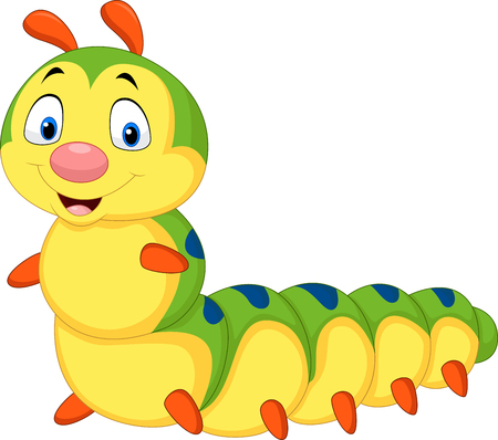 Vector illustration of Cartoon caterpillar isolated on white background