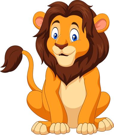 Vector illustration of Cartoon happy lion sitting