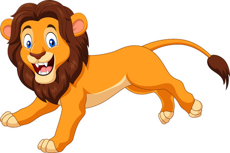 Vector illustration of Cartoon happy lion running