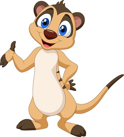 Vector illustration of Cartoon meerkat posing