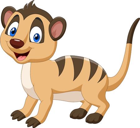 Vector illustratie van Cartoon happy meerkat
