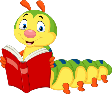 Vector illustration of cartoon caterpillar reading book