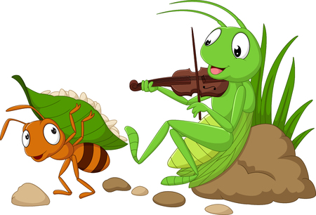 Vector illustration of cartoon the ant and the grasshopper Çizim
