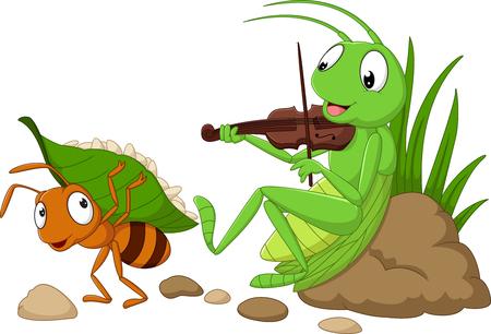 Wektorowa ilustracja kreskówka mrówka i pasikonik