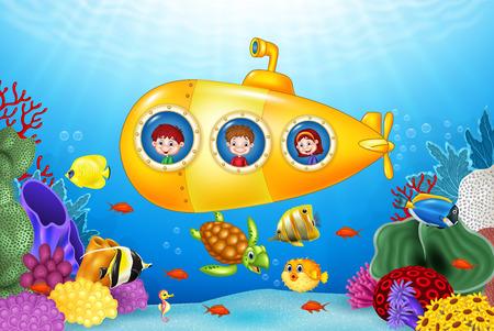 Vectorillustratie van kleine kinderen in onderzeeër op de zee Vector Illustratie