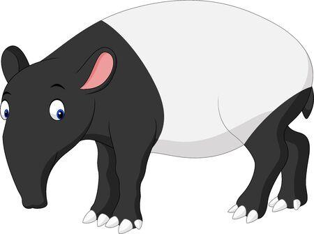 Illustration of cartoon asian tapir