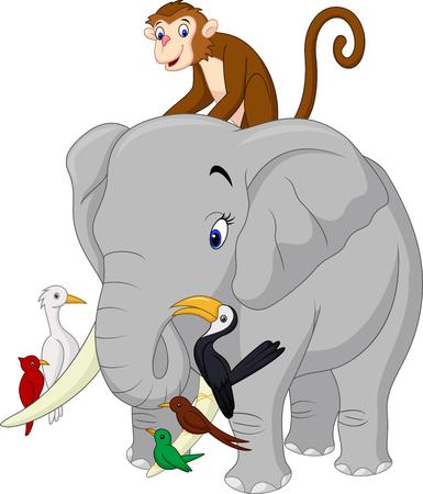 Elephant, Monkey, bird illustration of Happy animals cartoon  イラスト・ベクター素材