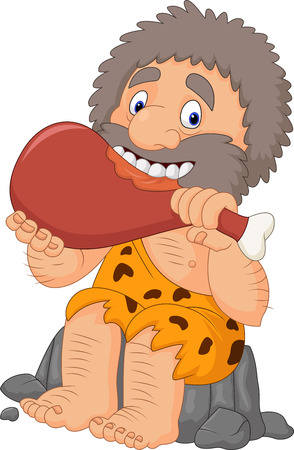Illustration Vecteur de Cartoon Caveman manger de la viande Vecteurs