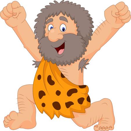 Vector illustration of Cartoon happy caveman Vektoros illusztráció
