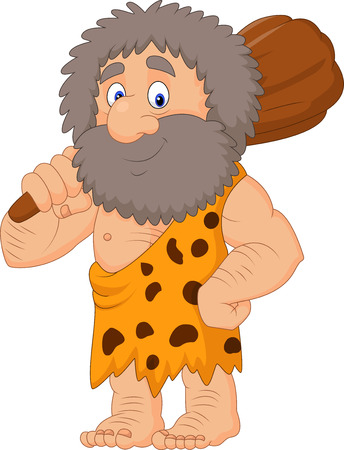 Vector illustration of Cartoon caveman holding club