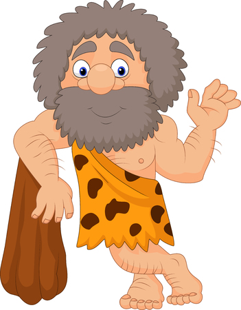 Vector illustration of Cartoon caveman waving hand
