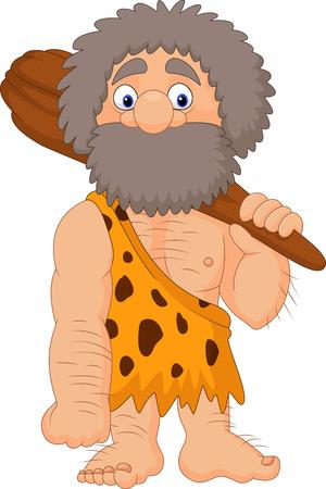 Ilustración vectorial de hombre de las cavernas de caricatura celebración de club Foto de archivo - 85308265