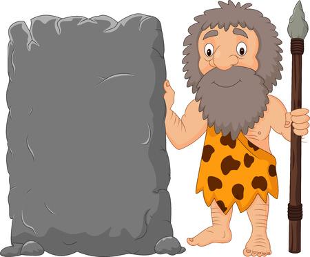 Vector illustration of Cartoon caveman holding stone sign Illustration