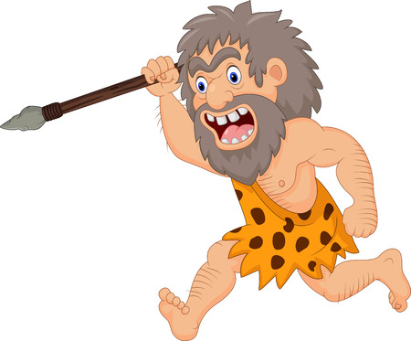 Vector illustratie van Cartoon caveman jagen met spies