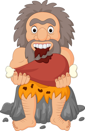 Vector illustration of Cartoon caveman eating meat