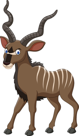 Vector illustration of cartoon kudu antelope