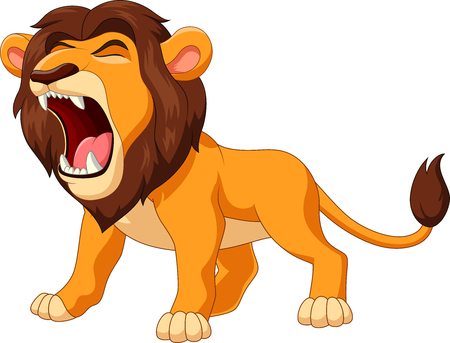 Vector illustration of cartoon lion roaring Иллюстрация