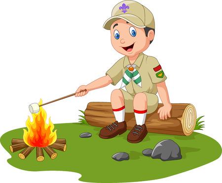 Vector illustration of Cartoon scout roasting marshmallow
