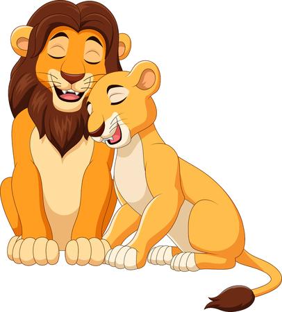 Vector illustration of cartoon lion couple