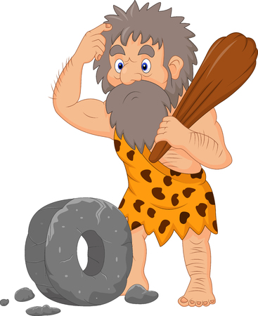 Vector illustration of Cartoon caveman with stone wheel