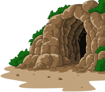 Vector illustration of Cartoon cave isolated on white background Illusztráció