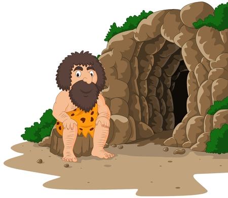 Vectorillustratie van Cartoon holbewoner zit met grot achtergrond