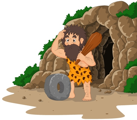 Vector illustration of Cartoon caveman inventing stone wheel with cave background