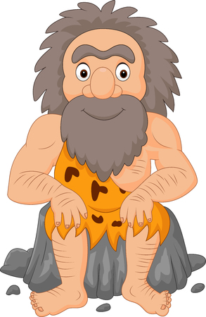 Vector illustration of Cartoon happy caveman sitting Illustration