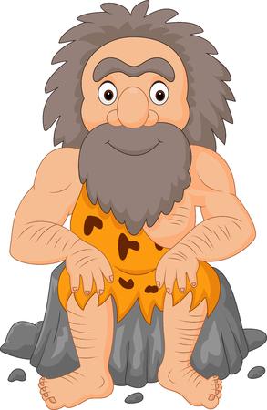 Vector illustratie van Cartoon happy caveman sitting
