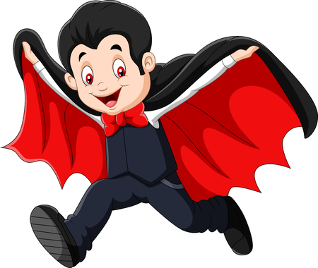 Vector illustration of Cartoon Happy vampire isolated on white background