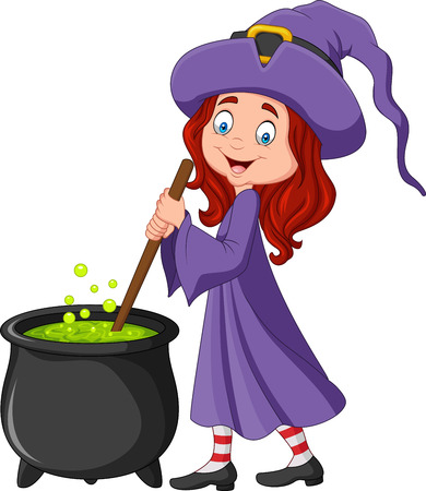 Vector illustration of Cartoon little witch preparing potion