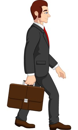 Vector illustration of Cartoon businessman holding briefcase Illustration