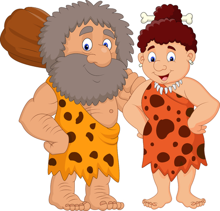 Vector illustration of Cartoon prehistoric caveman couple