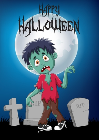 Vector illustration of Cartoon zombie with halloween background
